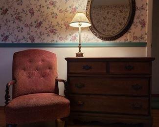 Dresser, Chair, Mirror Lamp