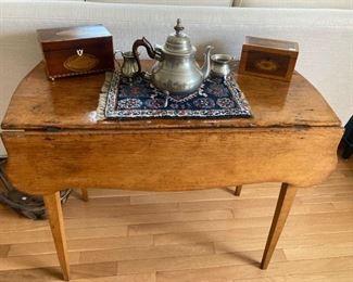 Antique drop leaf table ,antique tea caddies,Pewter tea set