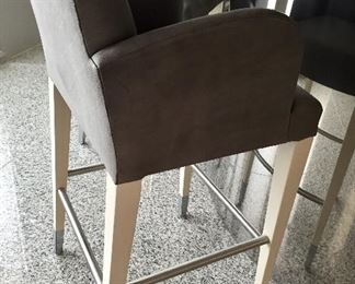 "3 Donghia leather & wood bar stools 22"" W 22"" D 44"" H Was $650 each/$1950 for 3 Now $400 each/$1200 for 3"