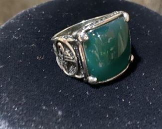 Man's Sterling Silver & Hade Ring. It is about size 9.5.