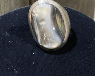 Mother of Pearl Ring set in .925 Silver - size