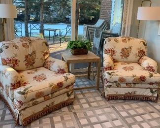 Nicely upholstered arm chairs