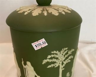 #4 -$100  rare green jasper ware Wedgwood cookie box with acorn finial.