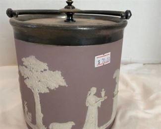 #5 - $70 Lavender Wedgwood Jasperware ice pail bucket with lid.