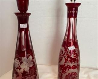 #6. Cranberry Bohemian glass cut decanters Left $36, Right $46