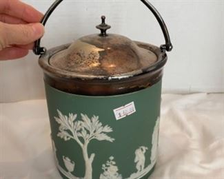 #7 - $60 Wedgwood Jasperware green ice pail bucket with lid