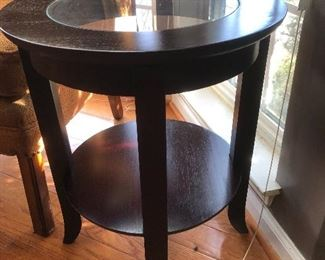 Round glass top mahogany table $50
