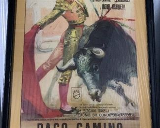 Large framed poster from Spanish Bull Fight