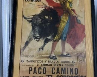 Original large framed Bull Fight Posters