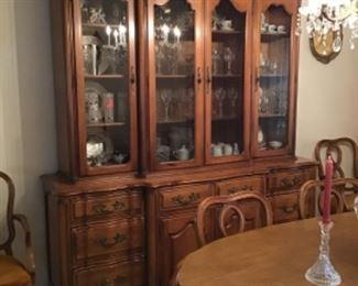 China Cabinet (two part w/metal  mesh on center doors)
