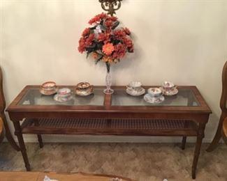 Faux Bamboo Wood Console/  Sofa Table w/ Caned Shelf