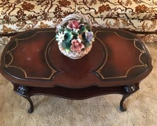 Mahogany Leather Top Coffee Table (Pottery Sold)