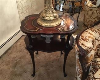 Pair of Mahogany Leather Top End Tables