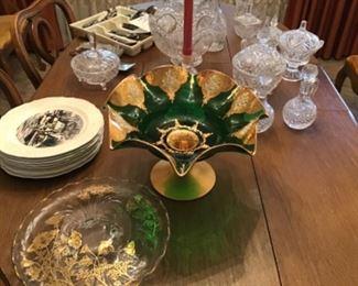 Venetian Emerald Green Glass  Gilt Centerpiece