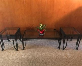 Contemporary Pair of Black Metal End Tables and Coffee Table w/Glass Tops