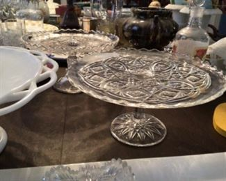 Gorgeous selection of cake plates, crystal, cut glass and milk glass $35 each