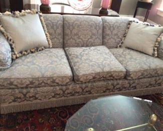 Beautiful well cared for sofa. Fringe bottom, silk fabric $400