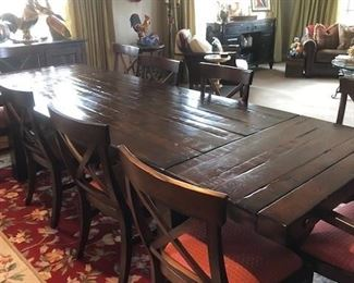 Dining table with leaves seats up to 12.