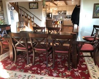 "Pottery Barn Dining Table and 10 chairs.  86""-122"" long."