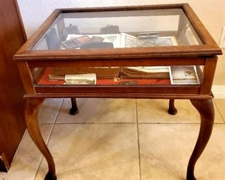 Shadow box table FULL of collectible Antiques  (1800's bible, pipes, etc...)