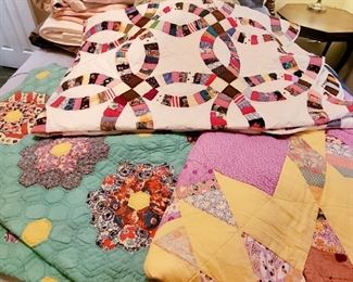 SEVERAL BEAUTIFUL vintage handsewn quilts!!!!