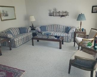 """Overview of Living Room to include Matching Sofa & Love Seat by Dresden Admiral, Pr. of Fruitwood Arm Chairs, Westwood Table Lamps & C. Jere signed Metal Sculpture """"Park Scene"""""""