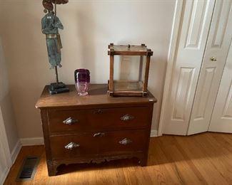 Vintage two-drawer dresser with original wood pulls.