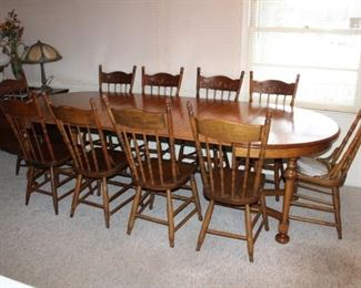 LARGE DINING TABLE W/3 EXTENSIONS & 10 CHAIRS
