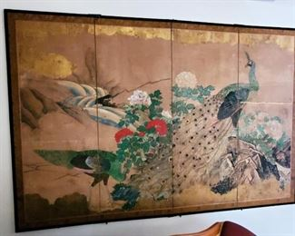 """Antique Japanese Screen with peacocks and peonies, c. 1870 58"""" x 89"""" $900.00  Note: Has minor damage that was repaired at the Metropolitan Museum of Art, NYC"""