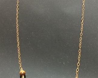 14KT GOLD NECKLACE w TIGERS EYE