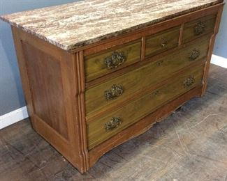 MID CENTURY MARBLE TOP CHEST OF