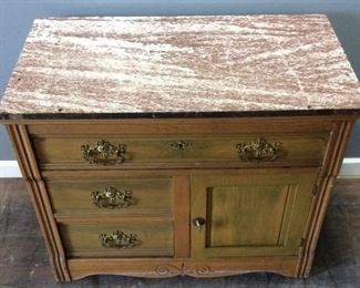 MID CENTURY MARBLE TOP 4 DRAWER