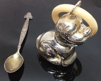 VTG. STERLING SILVER BABY RATTLE & SPOON