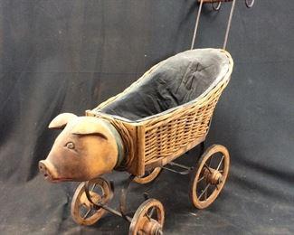 VINTAGE WOODEN PIG DOLL STROLLER