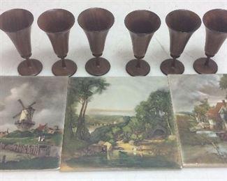 Vintage Pastoral Tiles, Wood Glasses