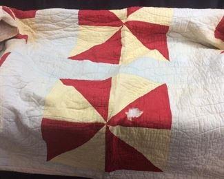 Antique Red Pinwheel Quilt