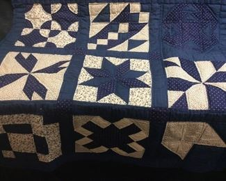 Vintage Blue Star Quilted Wall Hanging