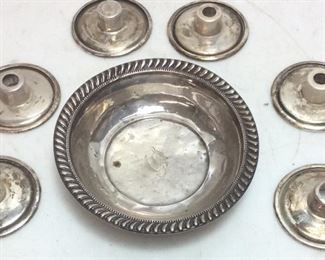 SILVER CANDLE TOPS AND BOWL
