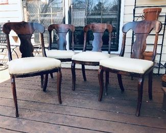Four burled walnut chairs, white leather seats with nail heads...very nice!