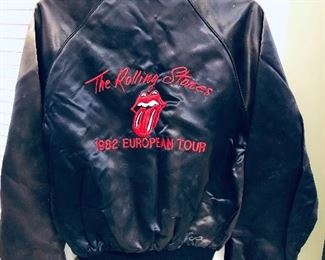 "The Rolling Stones 1982 European Tour jacket made by ""Tour Jac"" size medium. Does have fading on front and needs to be dry cleaned."