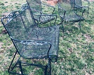 Vintage metal glider with 2 spring chairs