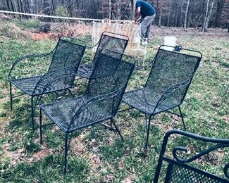 Four mid century metal chairs, plus a lot more vintage outdoor furniture.
