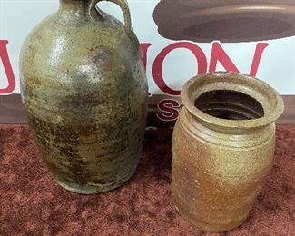 Old Salt Glaze N.C. Pottery Jug and Churn