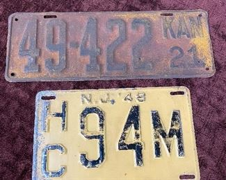 Old License Plates(1921 Kansas, 1948 New Jersey)