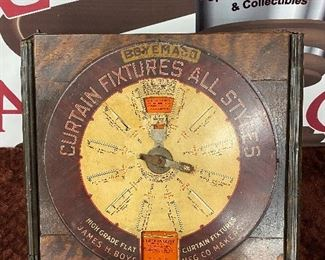 Old Tin Litho and Wooden Boyemaco Curtain Fixture Display Dispenser Machine