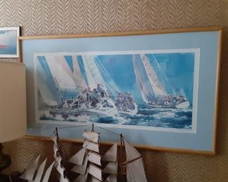 R. E. Kennedy signed limited edition sailboat races