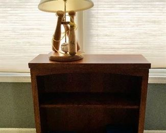 Cherry bookcase & baseball lamp