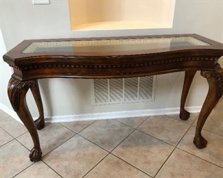 Cabriole leg console table with glass top