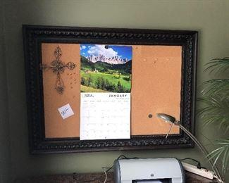 Framed cork board