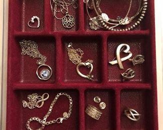 Tiffany sterling jewelry, Patricia Locke necklace, Alex & Ani, Lenox sterling heart necklace
